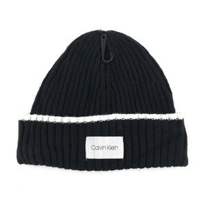 Calvin Klein Ribbed Knit Tipped Cuff Beanie Hat
